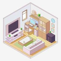 sala de estar estilo cartoon composição isométrica vetor