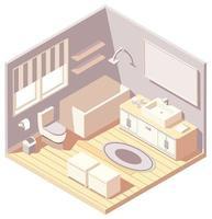 interior de banheiro moderno marrom isométrico vetor
