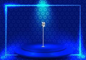 palco azul brilhante com padrão de estrela vetor