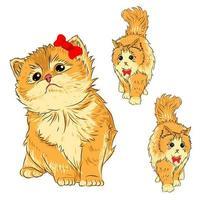 personagens de gatos fofos desenhados à mão vetor