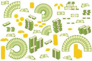 moedas de ouro e notas isoladas no fundo branco
