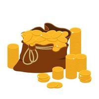 bolsa de dinheiro com moedas de ouro vetor