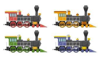 conjunto de locomotiva a vapor vintage isolada vetor