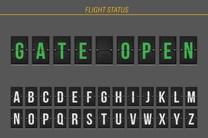 portão de informações de voo aberto vetor
