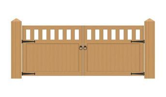 portão de madeira rústico isolado vetor