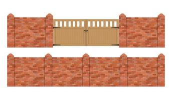 cerca de tijolo com portão de madeira isolado vetor