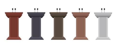 conjunto de tribuna de pódio de madeira vetor