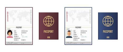 passaportes masculino e feminino abertos e fechados vetor