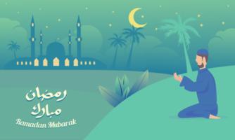 homem muçulmano orando a Deus na celebração do ramadã vetor