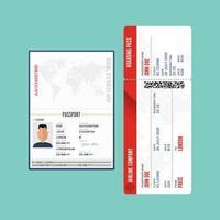 passaporte e cartão de embarque isolados vetor