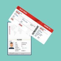 passaporte masculino e cartão de embarque vetor