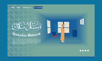 Página inicial do Ramadã com um homem se levantando para orar vetor