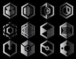 logotipos de prata geométrica hexagonal vetor