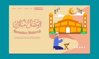 página inicial do ramadã com grande mesquita e homem orando vetor