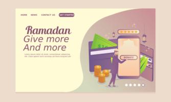 página inicial do ramadã com homem fazendo caridade online vetor