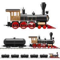 locomotiva a vapor e vagões antigos vetor