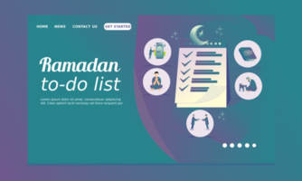 página inicial do ramadã com lista de tarefas pendentes vetor