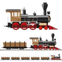 antiga locomotiva a vapor e vagões vetor