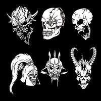 vários tipos de conjuntos de cabeças de crânio vetor