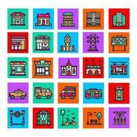 coleção de ícones de objetos de cidade parte 2 vetor