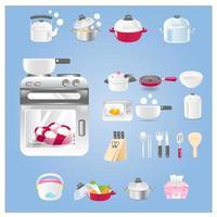 cozinha definir ícones para web vetor
