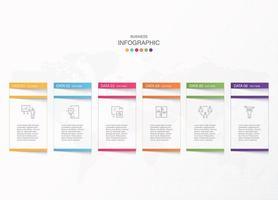 infográfico básico de seis opções de negócios brancos