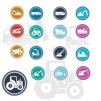 ícones lisos de veículos de construção vetor