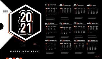 modelo de calendário de uma página 2021 vetor