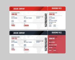 conjunto de cartão de embarque isolado vetor