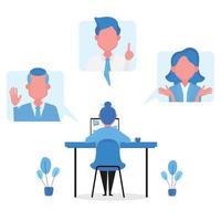 reunião de negócios online para prática de distanciamento social vetor