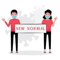 homem mascarado e mulher segurando uma nova placa normal