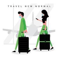 nova tendência de viagens normais com pessoas mascaradas no aeroporto vetor