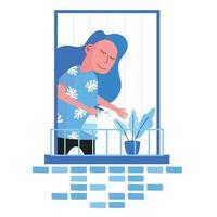 pessoa regando planta na varanda durante a quarentena vetor