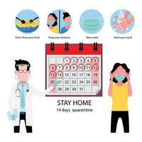 médico aconselhando paciente sobre o tempo de quarentena e segurança do coronavírus vetor