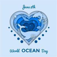 banner recortado do dia mundial do oceano vetor