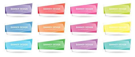 conjunto colorido de banners geométricos com sobreposição transparente vetor