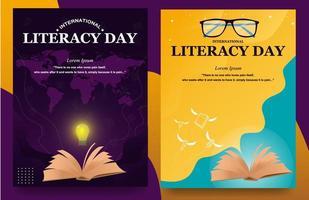 cartazes para o dia da alfabetização vetor