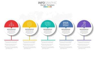infográfico com 5 círculos meio brancos e meio coloridos vetor