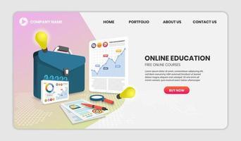 conceito de educação online com documentos e maleta vetor