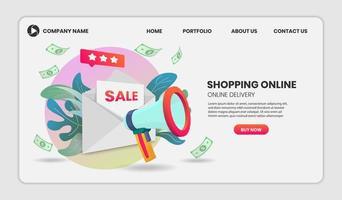 conceito de compras online com megafone e envelope vetor