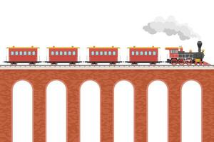 trem a vapor com vagões na ponte vetor