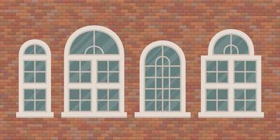 janelas retro na parede de tijolos vetor
