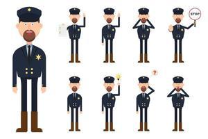 personagem do xerife em diferentes posições e emoções vetor