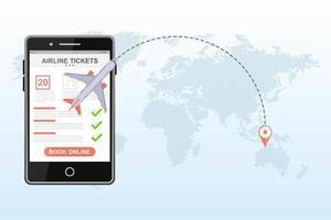 reservar voo em um aplicativo móvel vetor