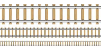 trilhos de trem em tamanhos diferentes vetor