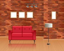 interior da sala de estar com decoração de parede de tijolos vetor