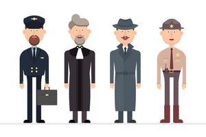 personagem masculino com diferentes profissões vetor