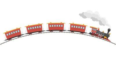locomotiva a vapor vintage e vagões vetor