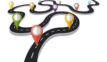 estrada sinuosa com ponteiro de alfinete vetor