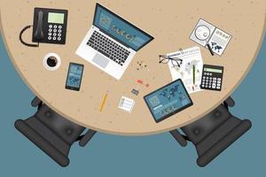 vista superior do espaço de trabalho empresarial vetor